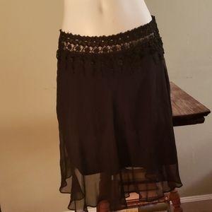 Beautiful vintage black, silk Betsey Johnson skirt